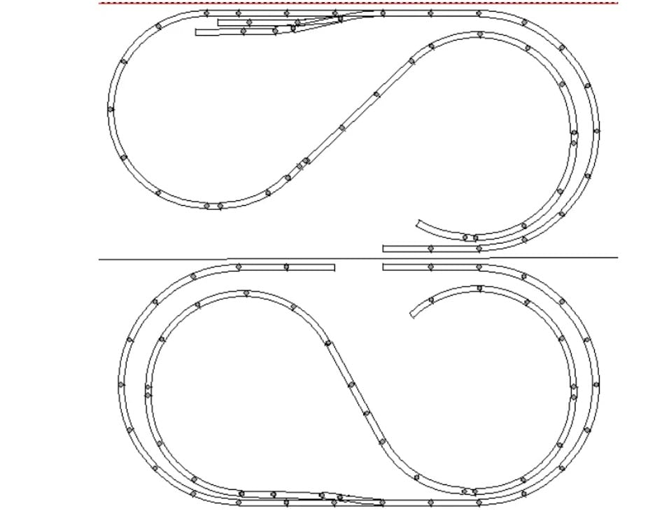 4x8 ho track plan including two different views.