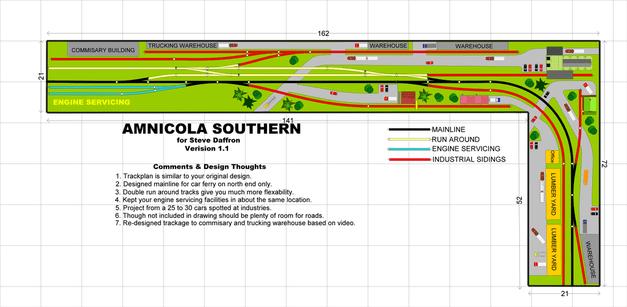 souther model train shelf layout plan in L shape.