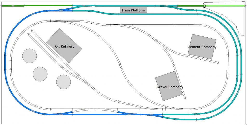 3x6 track plan showing 3 industries that track layout can switch to and continuous loop on mainline