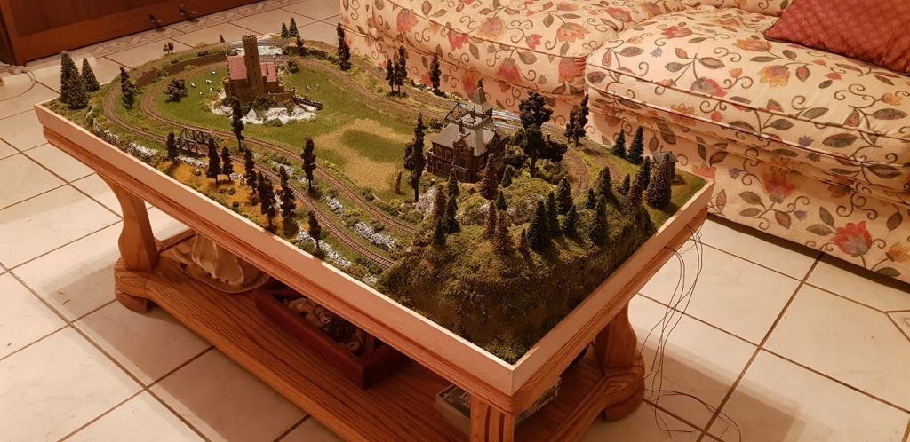 layout on an open coffee table without glass covering